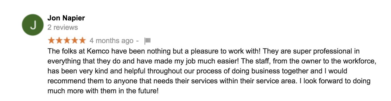 verified google review of kemco of burlington